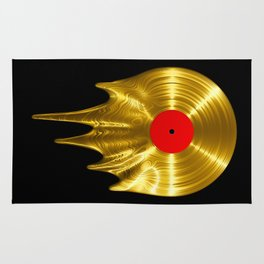 Melting vinyl GOLD / 3D render of gold vinyl record melting Rug