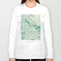 vintage map Long Sleeve T-shirts featuring Amsterdam Map Blue Vintage by City Art Posters