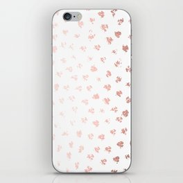 Rose Gold Pink Polka Splotch Dots on White iPhone Skin