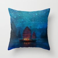 night Throw Pillows featuring Our Secret Harbor by Aimee Stewart