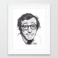 woody allen Framed Art Prints featuring Woody Allen by Paul Nelson-Esch Art