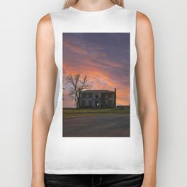 Old House at Sunset Biker Tank