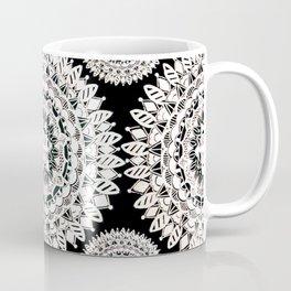 Black and Metallic White Floral Textile Mandala Coffee Mug