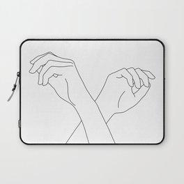 Crossed hands line drawing - Edie Laptop Sleeve
