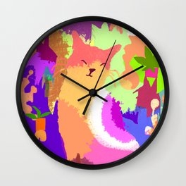 Cat with Abstract Background Wall Clock