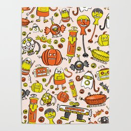 Monster Halloween Candy Bots in Orange, Yellow, Black, & Gray  // Fall Holiday Themed Candy Robots Poster