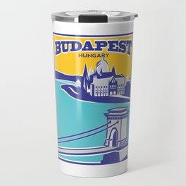 Budapest vintage poster, Chain Bridge Travel Mug