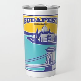 Budapest vintage poster, Chain Bridge Travel Mug