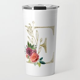 Gold Foil Monogram Letter E with watercolor flowers Travel Mug