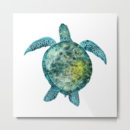 Watercolor Sea Turtle - Turquoise Metal Print