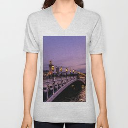 Sunset over Paris Bridge (Color) Unisex V-Neck