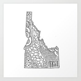 Idaho State Map Illustration Art Print