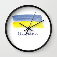 ukraine Wall Clocks featuring ukraine flag stripes by Olga Merkulova