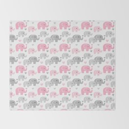 Pink Gray Elephant Baby Girl Nursery Throw Blanket