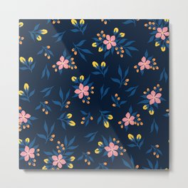Pink Florals on Blue Metal Print