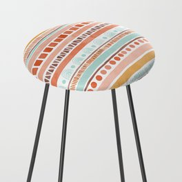 Boho Stripes - Watercolour pattern in rusts, turquoise & mustard. Nursery print Counter Stool