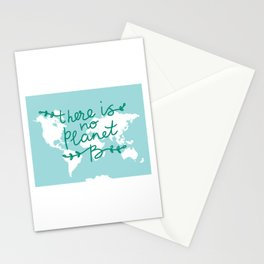 There is No Planet B. World map. White silhouettes of continents on a blue background. Ecology Stationery Cards