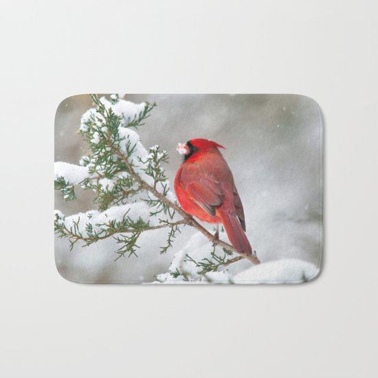 Snow on His Face (Northern Cardinal) Bath Mat