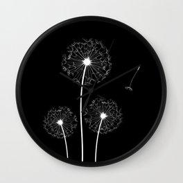 Dandelion Three White on Black Background Wall Clock