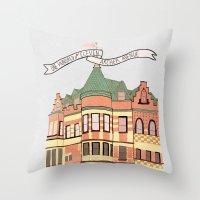 archer Throw Pillows featuring Archer Avenue by Nan Lawson