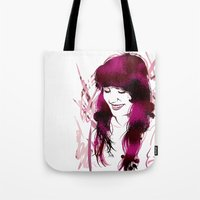 amy poehler Tote Bags featuring Amy by Abbi Laura