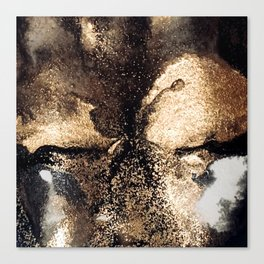 Black and gold abstract ink Canvas Print