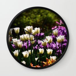 Purple and White Tulips Wall Clock