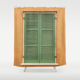 Green Shutters - Colorful Architecture in the New Orleans French Quarter Shower Curtain