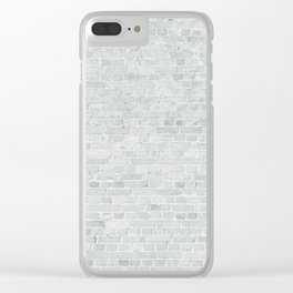 White Washed Brick Wall Stone Cladding Clear iPhone Case