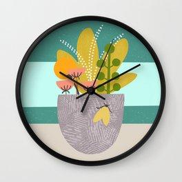 Succulent Garden with Moth Wall Clock