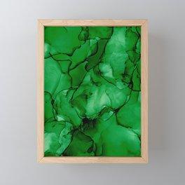 Deep Green Abstract: Original Alcohol Ink Painting Framed Mini Art Print