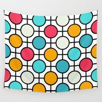 polka dots Wall Tapestries featuring Polka Dots by Dizzy Moments