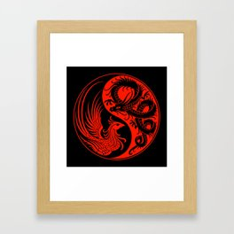 Red and Black Dragon Phoenix Yin Yang Framed Art Print