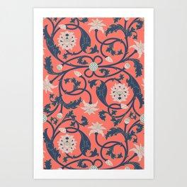 Oriental Lotus Pattern In Coral Pink Art Print
