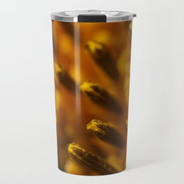 A macro image of disk floret buds in the center of a sunflower (Helianthus) Travel Mug