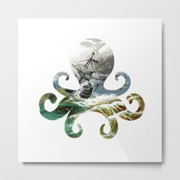 Sea Octopus Pirates  Metal Print