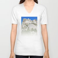 rushmore V-neck T-shirts featuring Mount Rushmore by astultz23