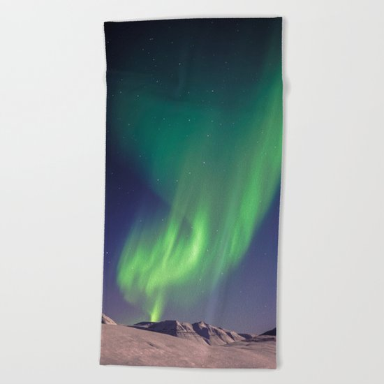 The Northern Lights (Aurora Borealis) Beach Towel