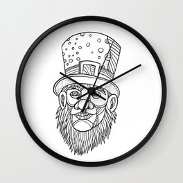 Irish Leprechaun Mono Line Wall Clock