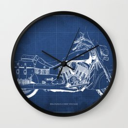 New motorcycle blueprint, 2016 Indian Chief Vintage,gift fro him,blueprint,bike art print Wall Clock