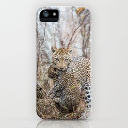 Mother Leopard carrying baby cub iPhone Case