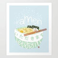 ramen Art Prints featuring Ramen. by k.b. doodles
