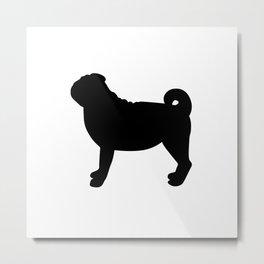 Pug (Black/White) Metal Print