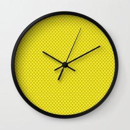 Lemon Yellow Scales Pattern Wall Clock
