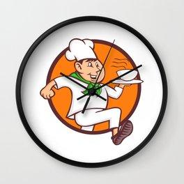 Running Chef Serving Fast Food Mascot Wall Clock