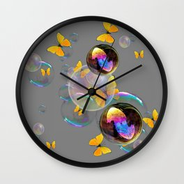 SURREAL YELLOW BUTTERFLIES & SOAP BUBBLES Wall Clock
