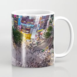 Crowd walking across Shibuya crossing in Tokyo, Japan Coffee Mug