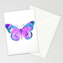 Pink-Lilac Butterfly With Glitter Blue Trim Stationery Cards
