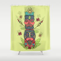 tiki Shower Curtains featuring Tiki totem by Binnyboo
