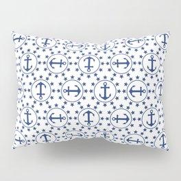 Navy Blue Anchors and Stars Nautical Pattern Pillow Sham